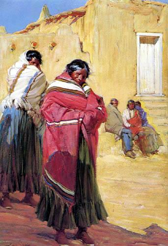 Ira Diamond Gerald Cassidy - Indians Outside Taos Pueblo