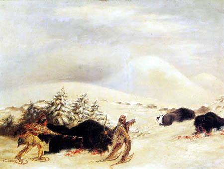 George Catlin - Caza de búfalos en nieve