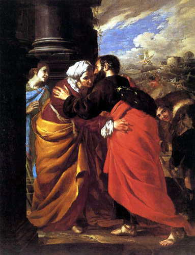 Bernardo Cavallino - The meeting of Joachim and Anna at the Golden Gate