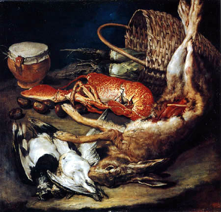 Giacomo Ceruti - Still life with hare and birds