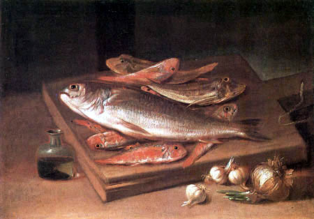 Giacomo Ceruti - Still life with fish and onions