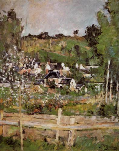 Paul Cézanne (Cezanne) - Blick auf Auvers-sur-Oise der Zaun