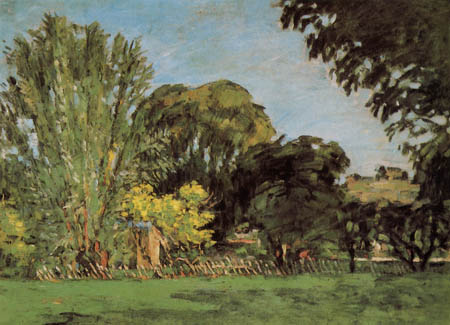 Paul Cézanne (Cezanne) - Trees in the park of Jas de Bouffan