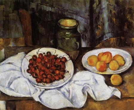 Paul Cézanne (Cezanne) - Stillleben mit Kirschen und Pfirsichen