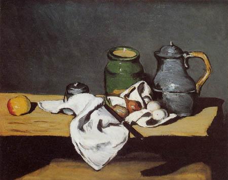 Paul Cézanne (Cezanne) - Stillleben mit Zinnkessel