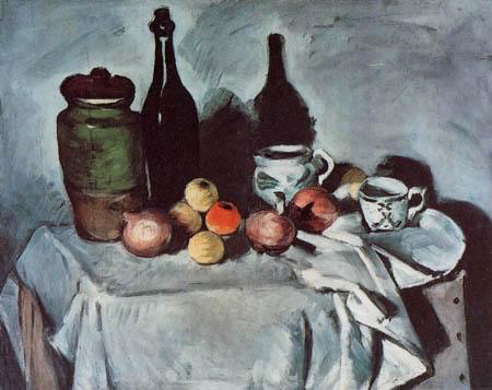 Paul Cézanne (Cezanne) - Stillleben mit Gefäß und Flasche