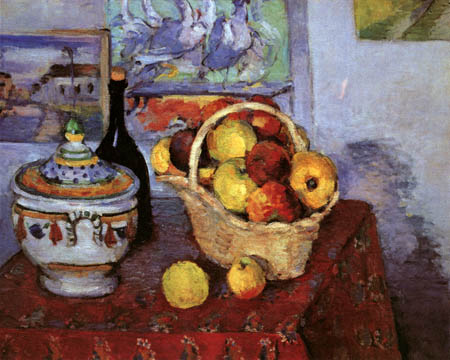 Paul Cézanne (Cezanne) - Still Life with Soup Bowl and Apple Basket