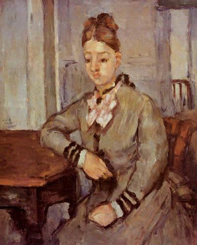 Paul Cézanne (Cezanne) - Madame Cezanne an einem Tisch