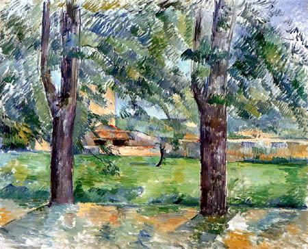 Paul Cézanne (Cezanne) - Wiese und Bauernhaus in Jas de Bouffan