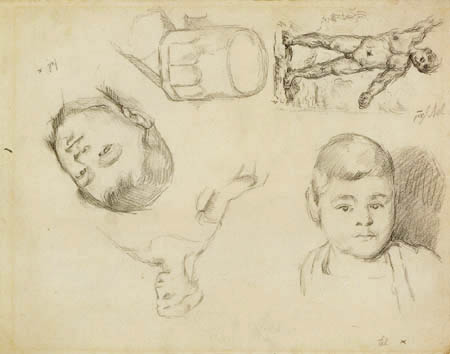 Paul Cézanne (Cezanne) - Studienblatt mit dem Sohn des Künstlers