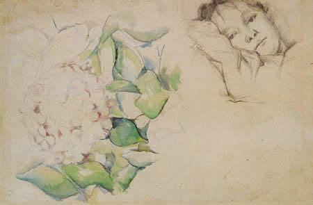 Paul Cézanne (Cezanne) - Madame Cezanne und Hortensienblüte