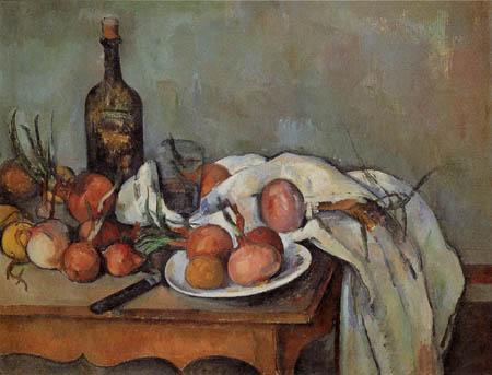Paul Cézanne (Cezanne) - Stillleben mit Zwiebeln und Flasche