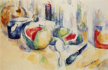 Paul Cézanne (Cezanne) - Stillleben mit angeschnittener Wassermelone