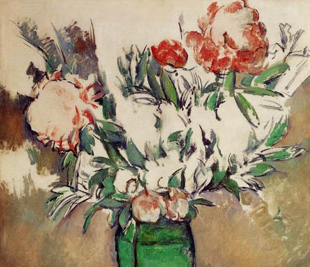 Paul Cézanne (Cezanne) - Pfingstrosenstrauß in grünem Krug