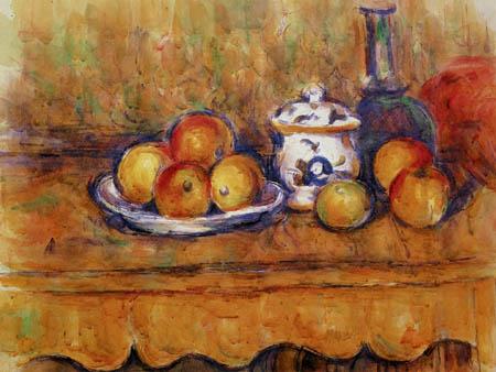 Paul Cézanne (Cezanne) - Stillleben mit Äpfeln, Karaffe und Zuckerdose