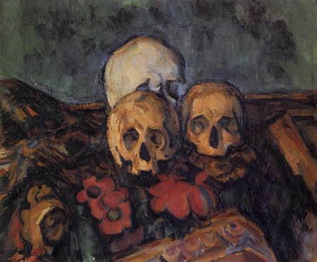 Paul Cézanne (Cezanne) - Drei Schädel auf einem Teppich