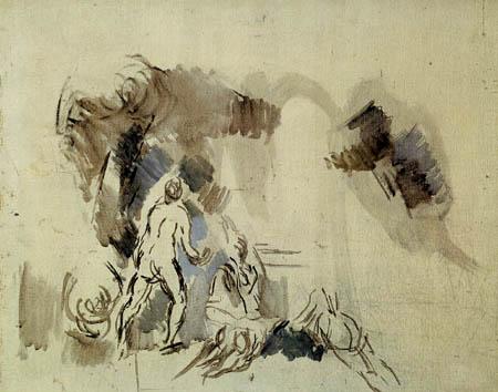 Paul Cézanne (Cezanne) - Skizze mit Badenden