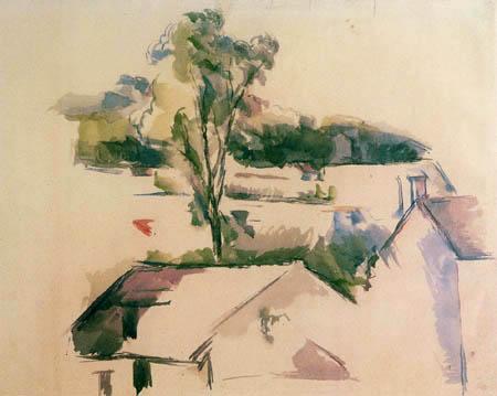 Paul Cézanne (Cezanne) - Dächer und Baum
