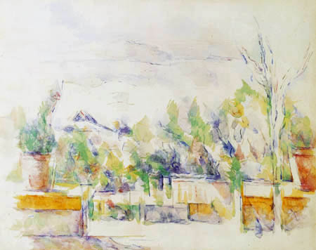 Paul Cézanne (Cezanne) - The terrace in the garden of les Lauves