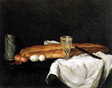 Paul Cézanne (Cezanne) - Stillleben mit Brot und Eiern
