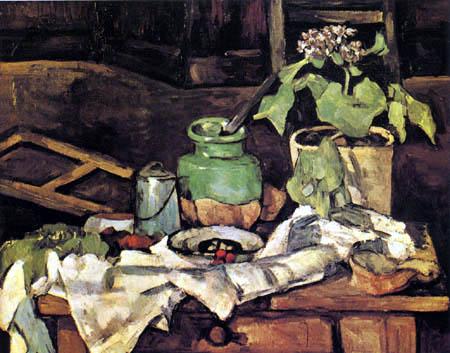 Paul Cézanne (Cezanne) - Blumentopf auf einem Tisch