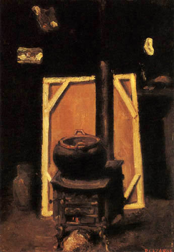 Paul Cézanne (Cezanne) - The stove in the studio