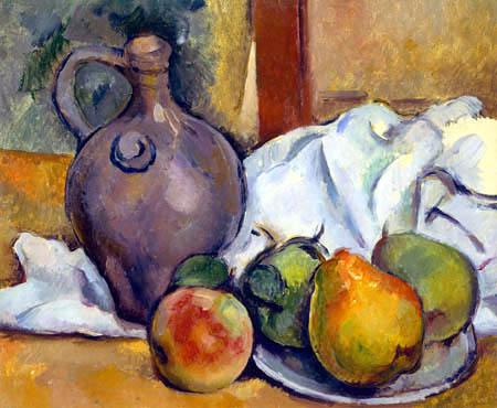 Paul Cézanne (Cezanne) - Ein Krug und ein Teller mit Birnen