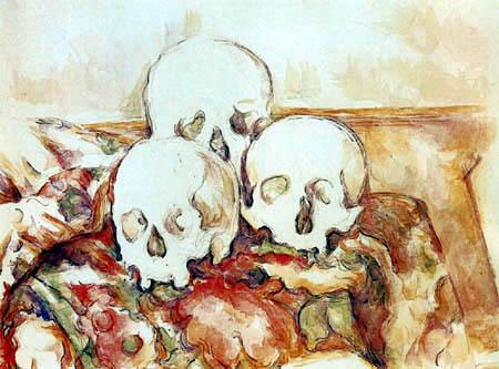 Paul Cézanne (Cezanne) - Vanitas, Stilleben mit drei Totenschädeln