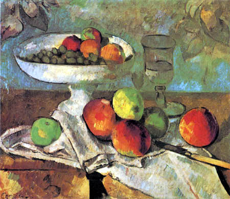 Paul Cézanne (Cezanne) - Still life with fruit bowl, glass and apples