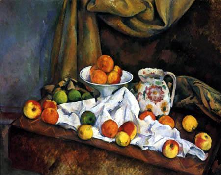 Paul Cézanne (Cezanne) - Stilleben mit Obstschale Krug und Früchten