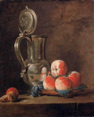 Jean-Baptiste Siméon Chardin - Zinnkrug und Pfirsiche