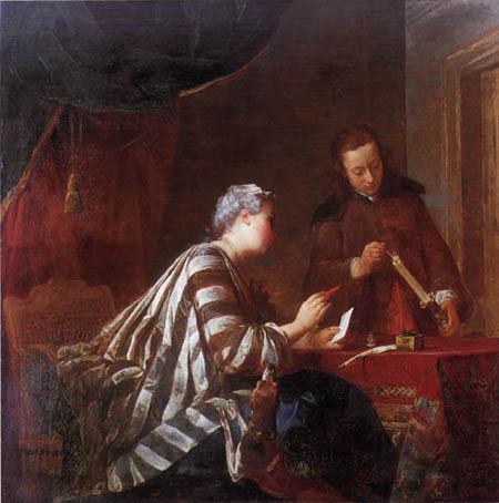 Jean-Baptiste Siméon Chardin - Sealing a letter