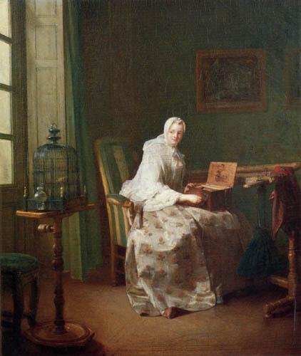 Jean-Baptiste Siméon Chardin - Woman with a birdcage