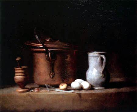 Jean-Baptiste Siméon Chardin - Küchenstilleben mit einem Kupfertopf
