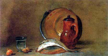 Jean-Baptiste Siméon Chardin - Still Life with Copper Pot and Fish