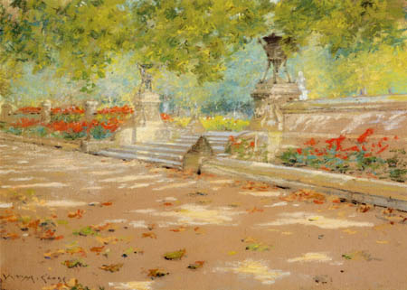 William Merritt Chase - La terraza en el parque Prospect