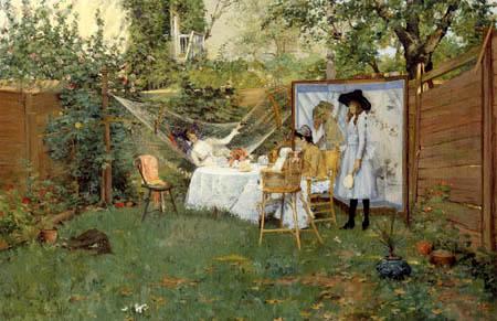 William Merritt Chase - Breakfast in the garden