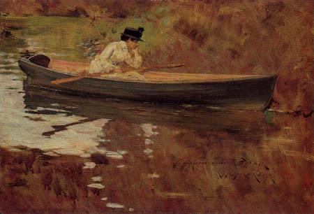William Merritt Chase - Mrs. Chase im Boot, Prospect Park