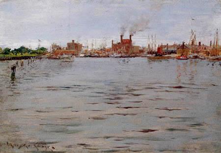 William Merritt Chase - Una escena del puerto, Brooklyn Docks