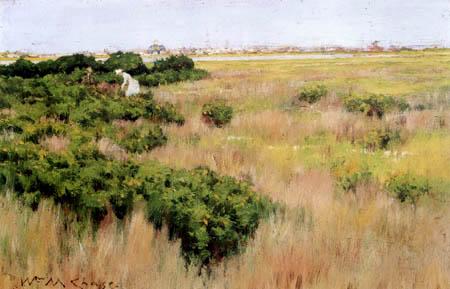 William Merritt Chase - Paisaje de flores, Coney-Island