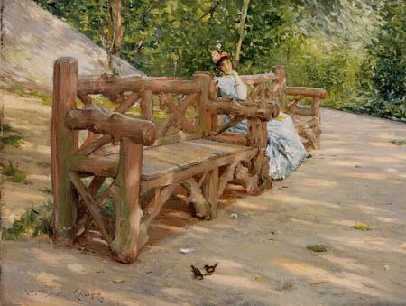 William Merritt Chase - Pause auf der Bank im Park