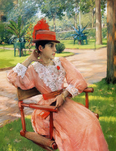 William Merritt Chase - Dama con sombrero rojo