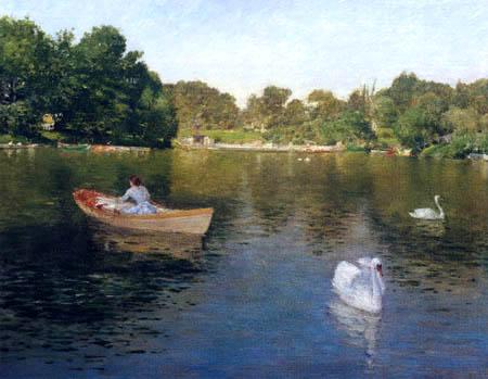 William Merritt Chase -  En el lago, Central Park