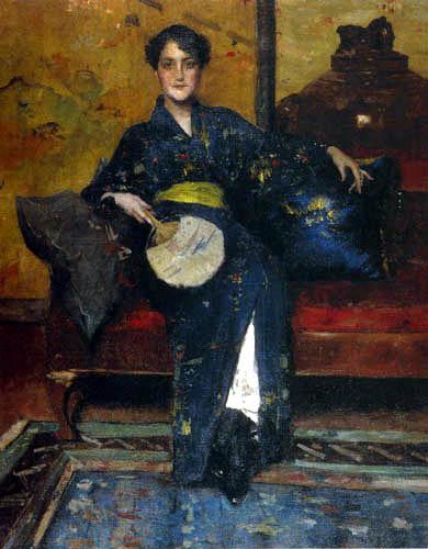 William Merritt Chase - Der blaue Kimono