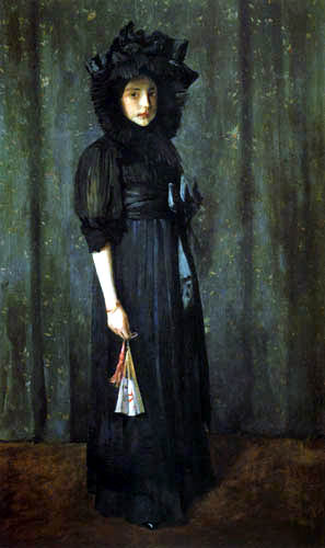 William Merritt Chase - Artist´s Daughter in Mother´s Dress, Young Girl in Black
