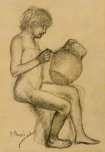 Pierre Puvis de Chavannes - Nude Child with a Vase