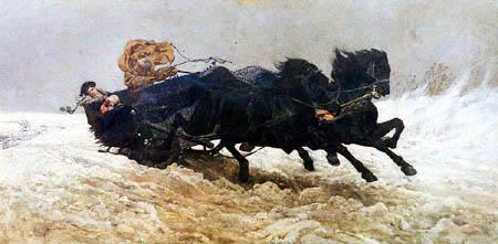 Józef Chełmoński ( Chelmonski ) - Schlittenfahrt