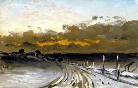 Fanny Churberg - Winter landscape with sunset
