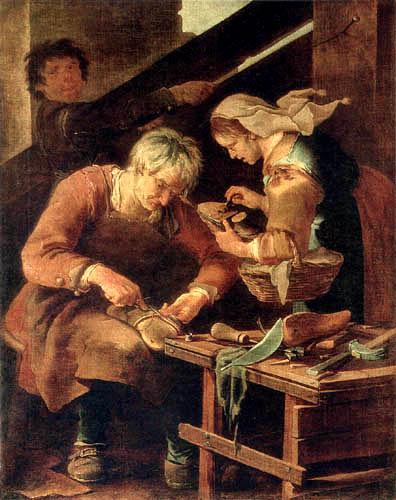 Giacomo Francesco Cipper ( Il Todeschini ) - A cobbler in his workshop