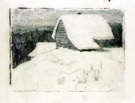 Mikalojus Konstantinas Ciurlionis (Čiurlionis) - La casita cubierto de nieve